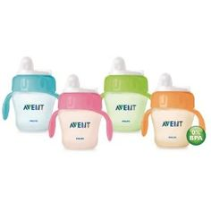 Avent Magic Trainer Cup Twin Pack, 7 Ounce, Colors May Vary, (sippy cup, avent, sippy cups, bpa free, toddler, travel, aircraft, cups, feeding, jetwithkids)