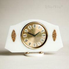 Vintage Retro SMITHS White & Gold Lucite Clockwork Mantle Clock FULLY…