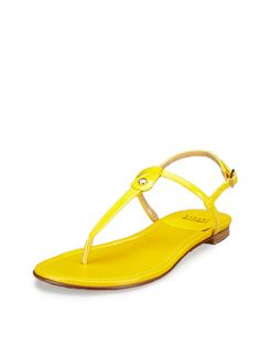 Torreta Thong Sandal in Yellow by Stuart Weitzman