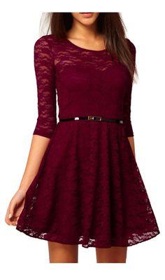 UUstar® Sexy Rahmen -Ausschnitt Minikleid Manches 3/4 longues Gürtel Elegant Cocktailparty Kleid Abend-Kleid Dress Mit Geblümt Lesbie Modelle (M, Rot)