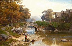Hans Gude (1825-1903): Vaskekoner ved elv, 1872