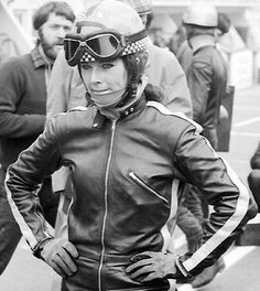 """Dane Rowe, the most famous of the 3 women which ever competed in Grand Prix. Dane was """"monkey"""" in the Sidecar world championship in the late and It adds a bit of diversity in this exclusively male Hall of Fame! Motorcycle Outfit, Motorcycle Jacket, Classic Motorcycle, Motorcycle Accessories, Girl Motorcycle, Motorcycle Design, Classic Bikes, Lady Biker, Biker Girl"""