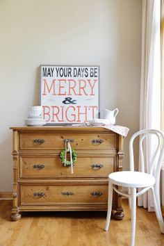 Adorable sign for the holidays on A Rosy Note #dresser #chair #wood #canvas #print #christmas #decoration