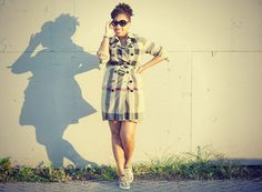 {Burberry  Brit Trench& Trainers, Rugby Dress,  Prada Baroque Sunglasses}