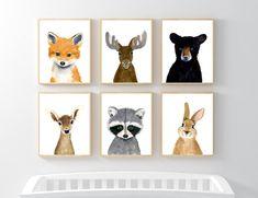 Nursery animals print set Set of 6 Printsraccoon moose Woodland Nursery Prints, Woodland Baby, Woodland Animals, Woodland Theme, Animal Nursery, Nursery Art, Jungle Nursery, Kindergarten, Animal Decor