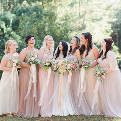 """Believe or not, these are the same dresses as the hanging up in sunlight pin below (white background). Watters Wtoo """"Bobbinet"""" in brown sugar, sand, and latte. Jenny Yoo Annabelle in cashmere, mink grey, and cameo pink."""