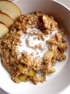 Apple Pie Oatmeal: 1 apple, cored and chopped (skins on)  1 cup water  1/2 cup quick cooking oats  1/2 tsp ground cinnamon  1/4 tsp ground nutmeg    Bring the water to a boil in a small saucepan. Then add the oats, apple, cinnamon, and nutmeg. The heat gets adjusted to low and the oatmeal is simmered for 2-3 minutes. That's all there is to it. Serve it with a splash of soy milk.