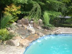 Custom waterfall we built. Natural stone, plantings and there you go. Natural Pools, Natural Stones, Natural Waterfalls, Outdoor Living, Outdoor Decor, Water Features, Farms, Moon, Nature