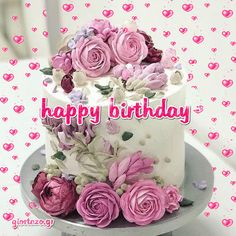 Happy Birthday Gif Images, Happy Birthday Greetings Friends, Birthday Wishes Flowers, Happy Birthday Wishes Images, Happy Birthday Celebration, Happy Birthday Beautiful, Birthday Wishes Cards, Pink Flowers, Quotes