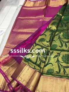 Indian Handloom Sarees and Silks Kanchipuram Saree, Handloom Saree, Festival Wedding, Pure Silk Sarees, Floral Stripe, Saree Wedding, Scriptures, Festivals, Temple