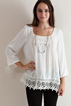 Crochet Lace Detail Blouse - Off White - Knitted Belle Boutique  - 1