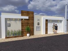 Wall and Reform Project - fachada muro - Fachadas Exterior Wall Design, Exterior Stairs, Gate Design, Exterior House Colors, Modern Exterior, Diy Exterior, Exterior Siding, Modern Fence Design, Modern House Design