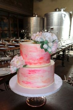 Watercolor Wedding Cake. Photo by Sugar Flower Cake Shop. www.sugarflowercakeshop.com
