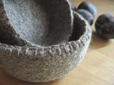 blanket-stitched felt bowls