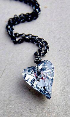 Crystal Heart Necklace Titanium Crystal Silver Metallic Pendant