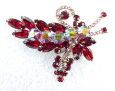 Juliana Brooch ruby red marquis and aurora borealis rhinestone Book Piece AC33