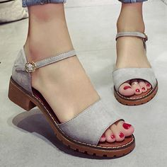 Plain Low Heeled Velvet Ankle Strap Peep Toe Office Outdoor Flat Sandals new styles every day from dresses, onesies, heels, & coats, shop womens clothing now. Ankle Strap Heels, Ankle Straps, Cute Shoes, Me Too Shoes, Shoe Boots, Shoes Heels, Dress Shoes, Rocker, Rock Chic