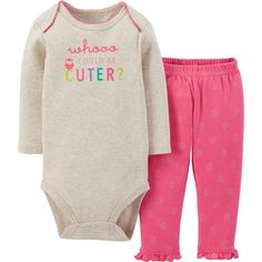 Child Of Mine by Carter's Newborn Baby Girl Bodysuit and Pants Outfit 2-Piece Set