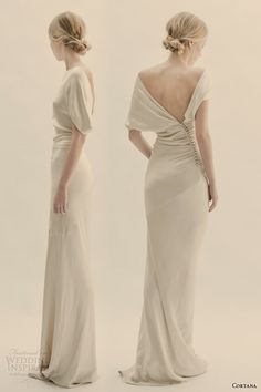 2015 Simple Sheath Bridal Dresses Crew Backless Floor Length Short Capped Sleeve Stain Beach Garden Vintage Wedding Dress Sheath Wedding Dresses Wedding Dresses Pictures From [. Vestidos Vintage, Vintage Dresses, New Wedding Dresses, Bridal Dresses, Slinky Wedding Dress, Bridesmaid Dresses, Bridesmaids, Dress Picture, Look Fashion