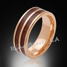 8mm,Unique,Rose Gold,Koa Wood,Tungsten RIng,Rose Gold,Wedding Band,wood inlay,Mens Band,Comfort Fit
