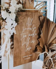 WEDDING Wooden Welcome Sign | All Because Two People Fell In Love | Wedding Rustic Decor Signage | Boho Beach Wedding Sign | Willow And Ink