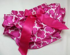 QUARTERFOIL DIAPER COVER,Hot Pink Quarterfoil Print Satin Ruffled Diaper Cover with Bow and Rhinestone Embellishment, Ruffled Baby Bloomers