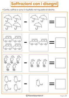 Color Worksheets For Preschool, Numbers Preschool, Kindergarten Math Worksheets, School Worksheets, Preschool Math, Maths, Phonics Books, Math Subtraction, Math For Kids