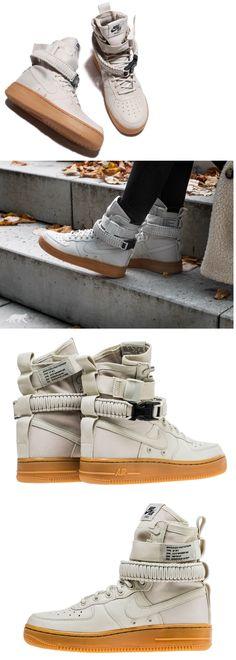 Athletic 95672: 857872-004 Nike Women Sf Air Force 1 Grey Light Bone Gum -> BUY IT NOW ONLY: $115 on eBay!