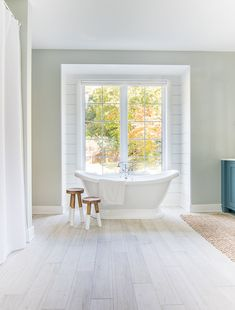 white and blue lake house master bathroom. Blue cabinets, white countertops and faux wood floor tile give a coastal feel to this lake house bathroom. Lake House Bathroom, Master Bathroom, Budget Blinds, Blogger Home, Cellular Shades, Retro Bathrooms, Ikea, Bathroom Renos, Bathroom Ideas