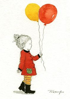 Girl and balloons by Yoote on Etsy $15.00