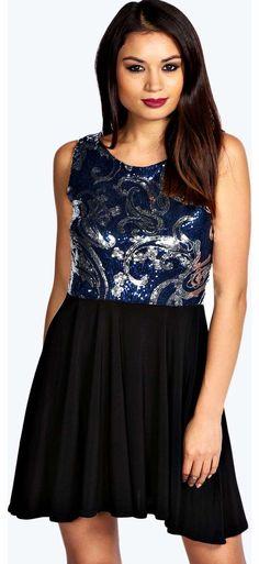 boohoo Jolie Sequin Top Skater Dress - navy azz17513 Look knock-out on nights out in figure-skimming bodycon fits, flowing maxi lengths and stunning sequin-embellished occasion dresses. This season make for satin sheen slip dresses in mink nudes, and ma http://www.comparestoreprices.co.uk/dresses/boohoo-jolie-sequin-top-skater-dress--navy-azz17513.asp