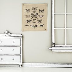The Land of Nod | Kids Banners: Vintage Butterfly Canvas Banner in All Wall Art