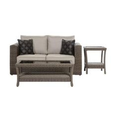 Brookshire 4Piece Resin Wicker Patio Seating Set Blue For the