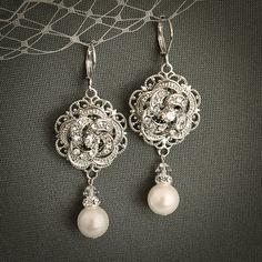 ROZIA Ivory or White Pearl and Crystal Bridal by GlamorousBijoux, $56.00