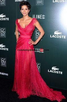 Halle Berry Red Lace Dress