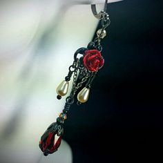 Blood Red Roses, framed In Black Filigree, accented by tiny Ivory Teardrop Pearls Romantic Gothic Victorian Ambiance