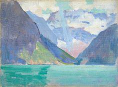 """View of Lake Louise, Alberta Canada,"" Arthur Wesley Dow, ca. 1919, oil on canvasboard, 6 x 8-1/2"", Spanierman Gallery."