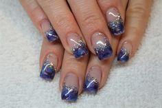 Gel Marble:  Akzentz gel, brazilian blue, purple art marbled, aurora silver sparkle.