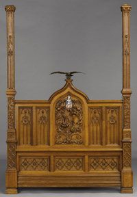 Furniture : English, AN ENGLISH GOTHIC REVIVAL OAK TESTER BED. Late 19th Century. 107 x51 x 82 inches (271.8 x 129.5 x 208.3 cm). ... (Total: 7 Items)