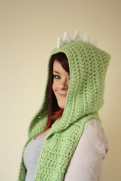 Dinosaur Hodded Scarf with Pockets by BeeLiciousCrafts on Etsy, $76.00