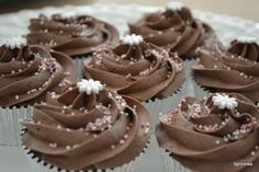 Chocolate cupcakes with pink sprinkles