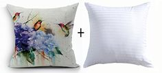 Best gift Beautiful Ink Painting Hummingbird And Purple Hydrangea Home Cotton Linen Throw Pillow Insert Pillow Case Cushion Cover Pillow Inner Home Office Sofa Car Decorative Square 18 X 18 Inches * You can get additional details at the image link.