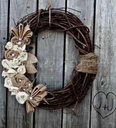 Burlap and pearl wreath.