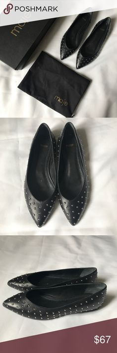 Maje ballerina flats Brand: Maje  Worn once!  Comes with dustbag and original box  Leather studded ballerine flats  Size 36/US6  No missing studs or marks  Basically brand new.  Condition: 9.5/10  Original price: $375.00  #maje #majeshoes #shoes #flats #ballerina #ballerinaflats #brandnew Maje Shoes Flats & Loafers