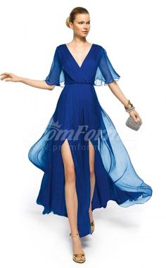 Royal Blue Ankle-length , Watteau Train V-neck Slip Front Velvet Chiffon A-line Cocktail Dresses(PRJT04-0350)