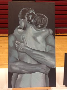 Art competition 2015 (not painted by me) painting of man and woman hugging Hugging Drawing, Guy Drawing, Painting Love Couple, Woman Painting, Man And Woman Silhouette, Acrylic Painting Flowers, Charcoal Sketch, Silhouette Painting, Art Folder
