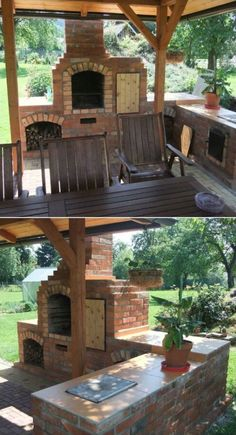 New backyard grill diy outdoor spaces 40 ideas Outdoor Fireplace Brick, Rustic Outdoor Fireplaces, Outdoor Fireplace Designs, Backyard Fireplace, Backyard Patio, Backyard Ideas, Fireplace Ideas, Brick Projects, Outdoor Projects
