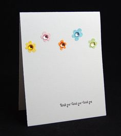 Simple & sweet! Thank you card with glittery rhinestone flowers