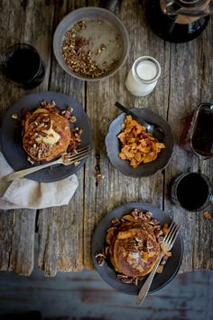 These Pumpkin Butter Pancakes with toasty pecans and coconut bacon sprinkles are the perfect fall flavor bomb for your weekend morning routine!
