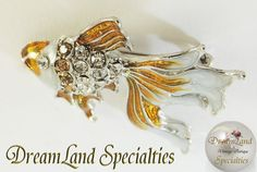 Amazing and Rare Rhinestone Enamel Gold Fish by DLSpecialties